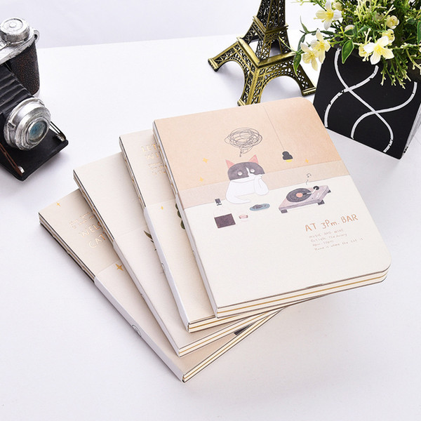 """""""happy Cat"""" Cute Drawing Notebook White Kraft Blank Papers Notepad Journal Sketchbook Study Diary"""