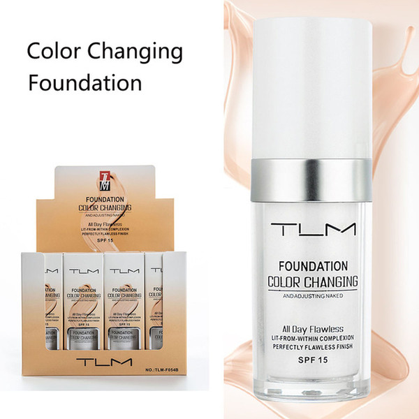 Best Flawless Color Changing Foundation Makeup Base Nude Face Liquid Cover Concealer Long Lasting Pre Makeup Sun Block Pores Drop Shipping