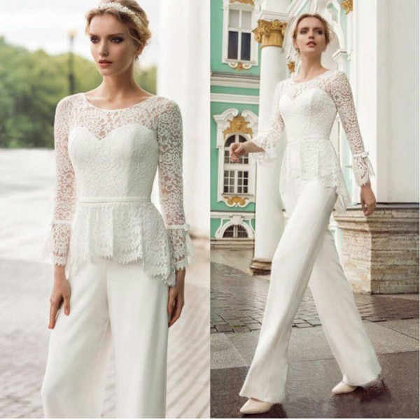 Elegant Jumpsuits Lace Mother Of The Bride Pant Suits Jewel Long Sleeves Chiffon Wedding Guest Gown Groom Gowns Mother of the Bride Dresses
