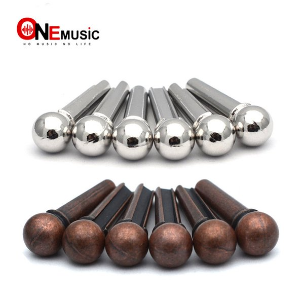 top popular 100pcs lots Metal Guitar Bridge Pin Folk Acoustic Guitar String Pin Peg Nail Brass Bronze Silver 2019