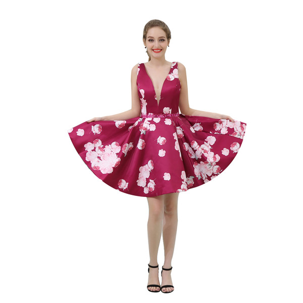 Fashion Short Mini Printed Prom Dresses Cheap Prom Dresses Formal Gowns Beaded Waist Party Dresses Deep V B042