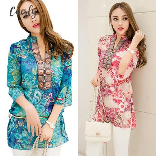 Блуза Новой моды Этнического Мода лето Корейского стиль Обычной женщины Сыпучего шифон рубашка перевозка груз падение хорошего качество