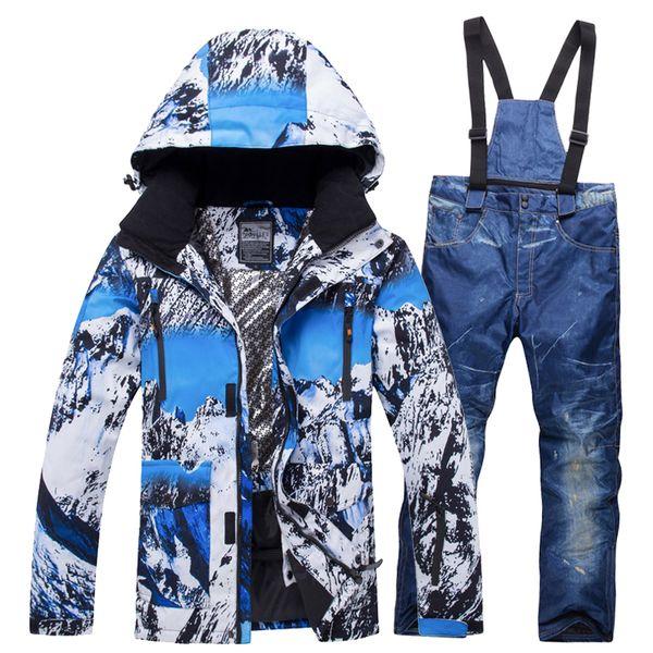 2018 Neue Winter Skianzug Männer Set Hot Winddicht Wasserdicht Warm Ski Snowboard Anzüge Set Männlichen Outdoor Hot Ski jacke + Hosen