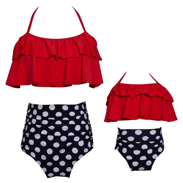 Madre e hija traje de baño Lotus Leaf Edge forma traje de baño de impresión de cintura alta traje de baño vestidos de nylon nueva camisola 35hy2b1