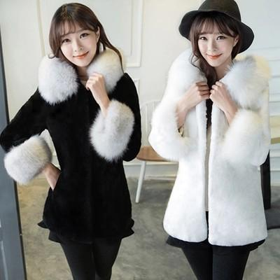 2017 Winter Women Outerwear Medium-long Faux Rabbit Fur Coat with a Fox Fur Hood Thick Warm coats and jackets white/black