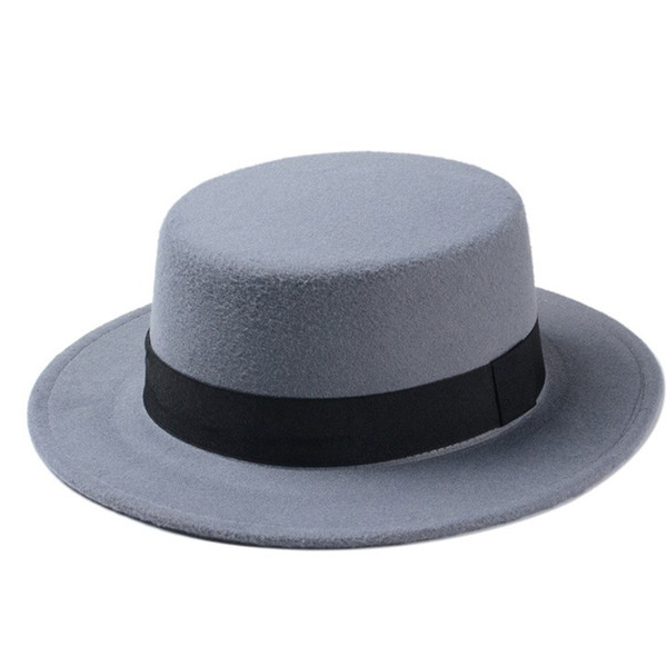 New Fashion Wool Boater Flat Top Hat For Women Felt Wide Brim Fedora Hat
