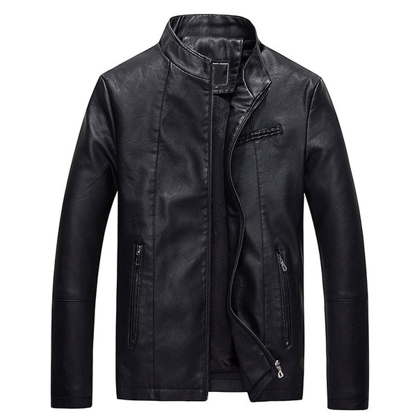 Marca de moda Mens Jaqueta de Couro Sólido Casaco de Pele Falsa Outerwear Inverno PU Motocicleta Gola Plus Size Outerwear