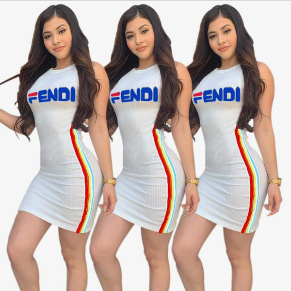 European and American Women's designer Square F Italian Letter offset printing Round collar sexy side stripe Pit Skirt fashion Dress Dress