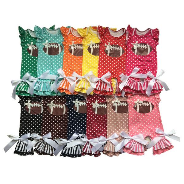 Baby Girl jumpsuit Toddler Girls polka dot football design Romper Infant long /short sleeve romper 24Colors 6Size