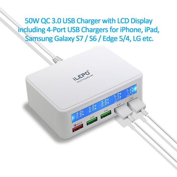 Профессиональный источник питания для Amazon 50W QC 3.0USB Быстрое зарядное устройство с ЖК-дисплеем, включая 4-портовые USB-зарядные устройства для Iphone IPad мобильного телефона Android