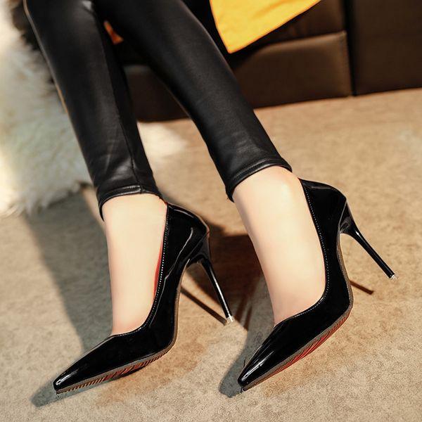 Designer Dress Shoes 10cm Super High Women Patent Leather High Heel Spring Summer Pointed Toe Pumps Wedding Women Pink Black Red White