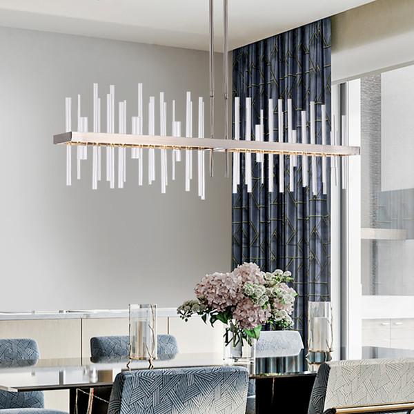 Modern Rectangle Chrome Chandelier Lighting For Dining/Living Room Kitchen  Island LED Lamps Indoor Light Fixtures Home Lights Large Chandelier ...