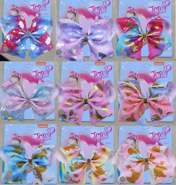 8 pollici Jojo Girls Siwa Unicorn Collection Coral Colorato Hairpin HAIR CLIP Large Hair Bows Accessori per capelli Per le ragazze 8PCS /