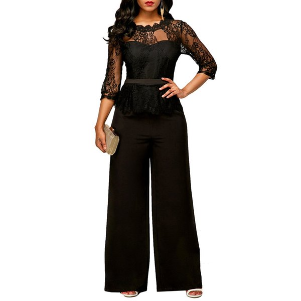 Sexy Office Rompers Women Jumpsuit Lace Splice 3/4 Sleeves Wide Leg Long Pants Playsuit Elegant Peplum Jumpsuits for Women 2018
