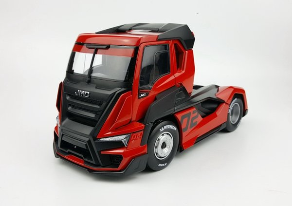 Exquisite Alloy Model Gift 1:24 Scale JMC Racing Truck Tractor Trailer Vehicles DieCast Toy Model For Collection Decoration