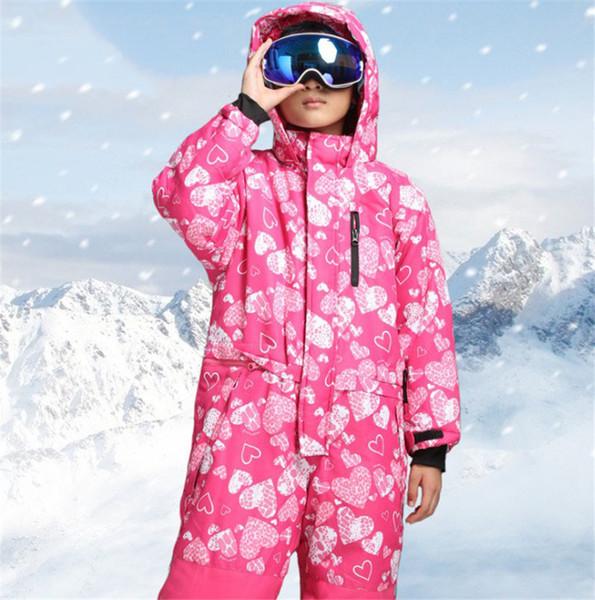 2018 Winter One Piece Colorful Waterproof Kids Ski Suit Girls Boys Warm Jumpsuit Snow Sets Thermal Windbreak Snowboard suit