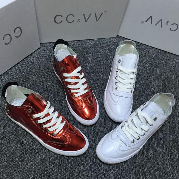 Scarpe da ginnastica RY donna scarpe basse in pelle bovina 2019 nuova pelle di maiale fodera scarpe casual designer donna bianca