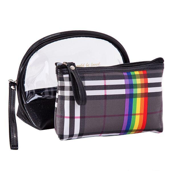 Women PVC Plaid Makeup Bag 2 Pcs Sets Panelled Dazzling Washing Toiletry Kits Cosmetic Bag Female Portable Travel Organizer Toiletry Bag