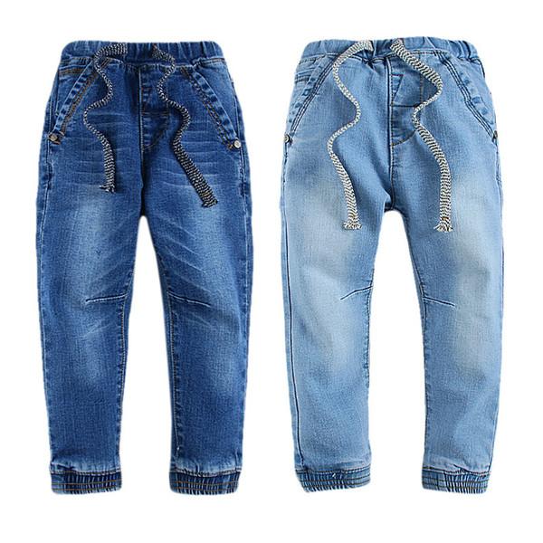 Winter Baby Jeans Fashion Long Pants for Girls Elastic Waist Cargo Fleece Inner Children Denim Pants 17080403