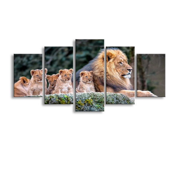 5 pieces high-definition print animals lion canvas painting poster and wall art living room picture B-059
