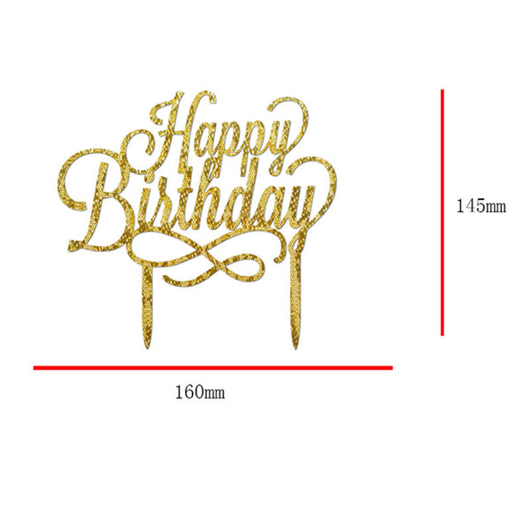 Cake Topper Happy Birthday Gold Silver Black Glitter Party DIY Decoration Cake Topper Happy Birthday Gold Silver Black Glitter Party DIY Dec