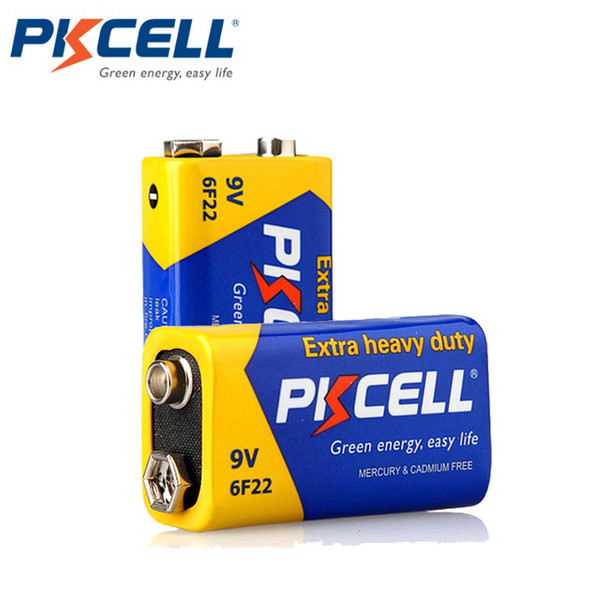 Cheap Primary & Dry Batteries 2Pcs PKCELL 9V Batteries 6F22 Extra heavey duty Carbon Zinc Battery 9 Volt Battery Equal to CR9V