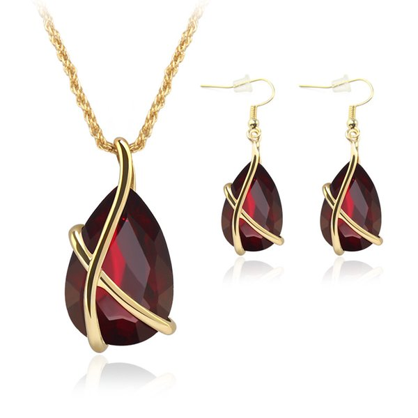 Crystal Water Drop Necklace Earrings Jewelry Sets Gold Ear Cuff Pendant Chains Brida Wedding Jewelry for Woman Will and Sandy KKA6186