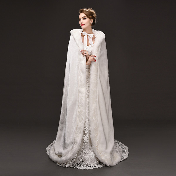 Top Quality Winter Wedding Long Cloak Fur Hooded Capes With Faux Fur Edge Hooded Bridal Wedding Cloak White Bride Poncho Wraps
