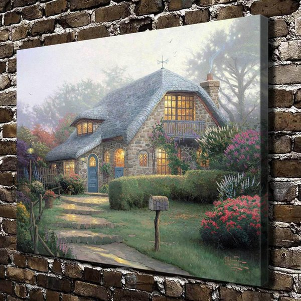 Lilac Cottage,Home Decor HD Printed Modern Art Painting on Canvas (Unframed/Framed)