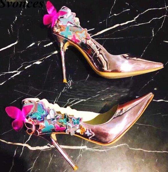 2019 Mince Talons Hauts En Cuir Véritable Femmes Pompes 10 cm Talons Papillon Élégant Chaussures De Mariage Partie Lumière Violet Escarpins Grande Taille 42