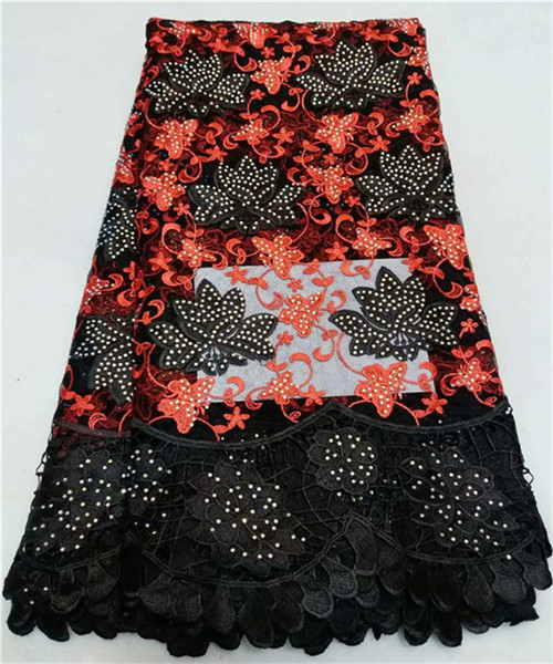 Tzq37black And Red ( 5yards/pc) Good Quality African Tulle Lace Wonderful Embroidered French Lace Fabric With Stone For Dress