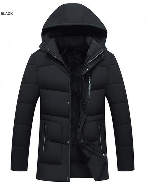 Kaliteli 2019 Marka erkek Pamuk Yastıklı Giysiler Sıcak Palto Erkek Yastıklı Ceket Kapüşonlu Dış Giyim Için Düz Renk Giyim Konfeksiyon