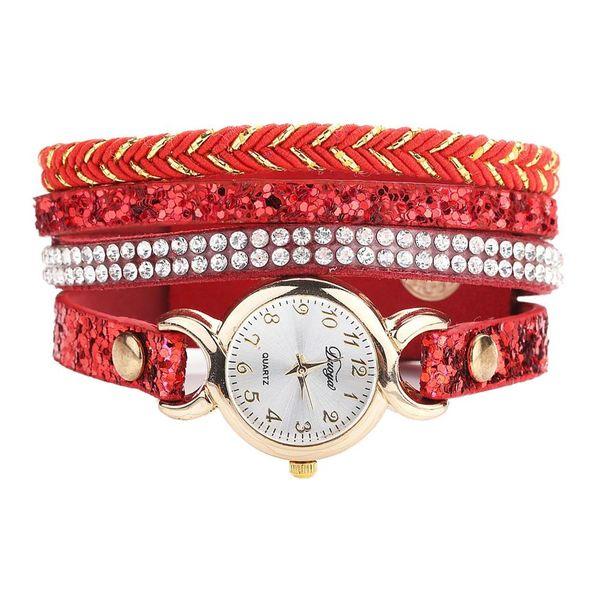 Great Retro Multilayer Braided Bracelet Rhinestone Inlaid Women Quartz Wrist Watch