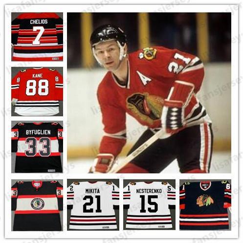 Chicago Blackhawks 13 Alex Zhamnov 16 Edward Olczyk Tony Amonte Brent Seabrook Joel Quenneville Eric Nesterenko Retro Eishockey Vintage Trikots