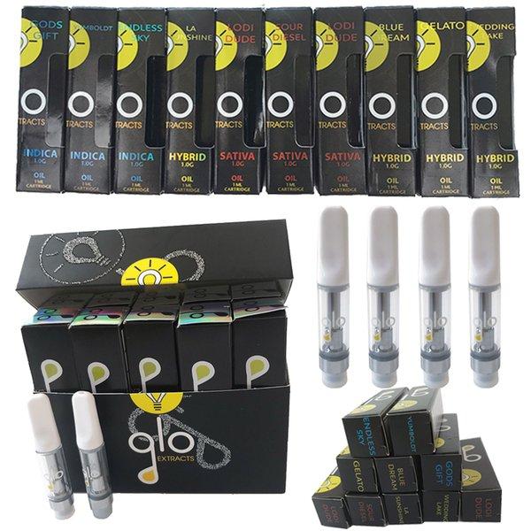 GLO Extractos Vapes Cartridge Embalagem Glo Carrinhos 0,8ml 1ml cerâmico vazio Vape Pen Cartuchos 510 Tópico Atomzier Dab vaporizador E Cigarette