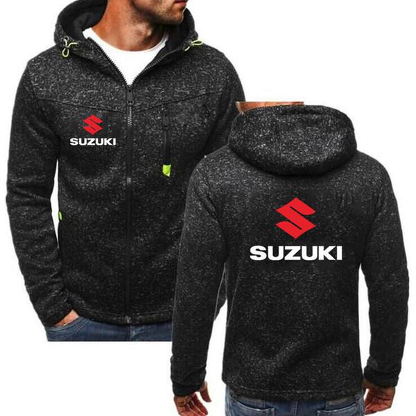 2019 hombres de moda otoño Forsuzuki motocicleta sudaderas con capucha ocasional de la impresión de algodón de la cremallera con capucha Hombre abrigos chaquetas StreetweaQ