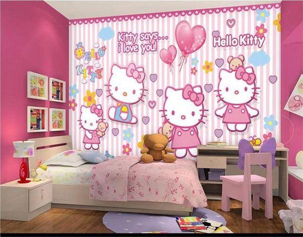 Custom Size 3d Photo Wallpaper Living Room Kids Mural Cartoon Cat Girl Room 3d Picture Sofa Tv Backdrop Wallpaper Non Woven Wall Sticker Hd Wallpapers