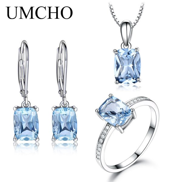 Umcho Genuine 925 Sterling Silver Jewelry Set Aquamarine Sky Blue Topaz Ring Set Pendant Stud Earrings Necklace For Women Gift