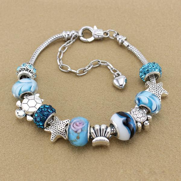 Braccialetto fai da te 18 + 5cm braccialetto regolabile braccialetto di perline di vetro blu gioielli accessori serie ocean