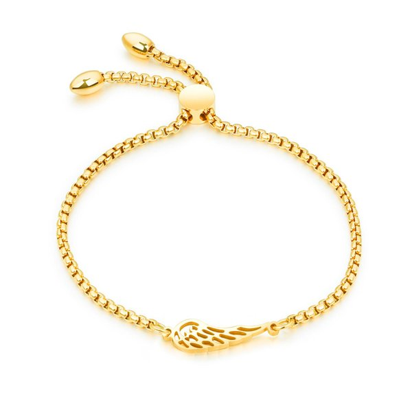 High quality ladies rose gold/gold/white angel wings bracelet adjustable length ladies friendship bracelet 3-GS894