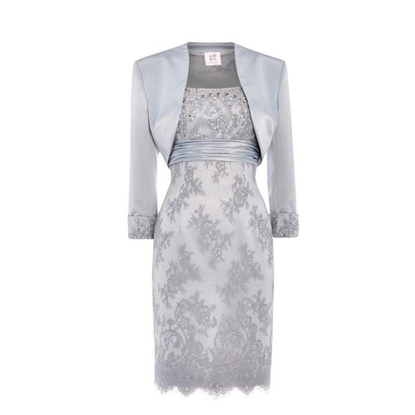 Silver Lace Mother Of The Bride Dresses Scoop Sequins Beaded Satin Knee Length Mother Bride Dresses With Jacket Short Dresses