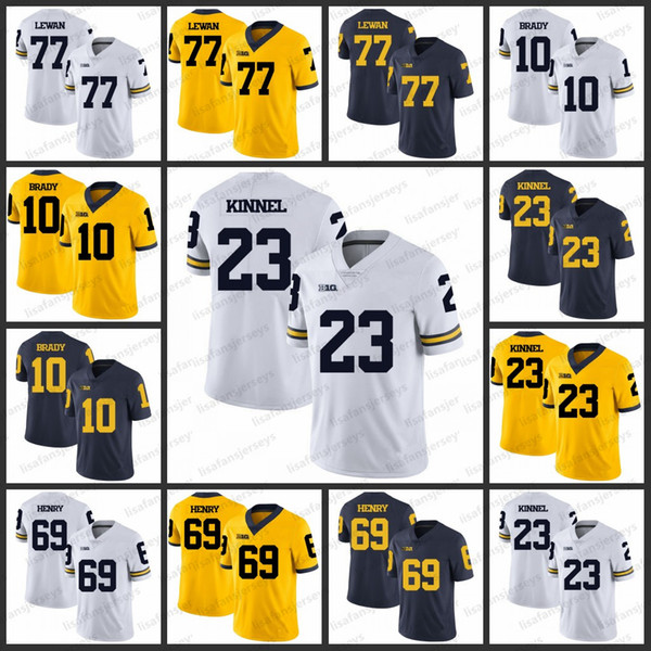 sale retailer bcdc3 b7380 2019 Michigan Wolverines College Jerseys 77 Taylor Lewan 10 Tom Brady 23  Tyree Kinnel 69 Willie Henry All Stitched Football Jersey From ...