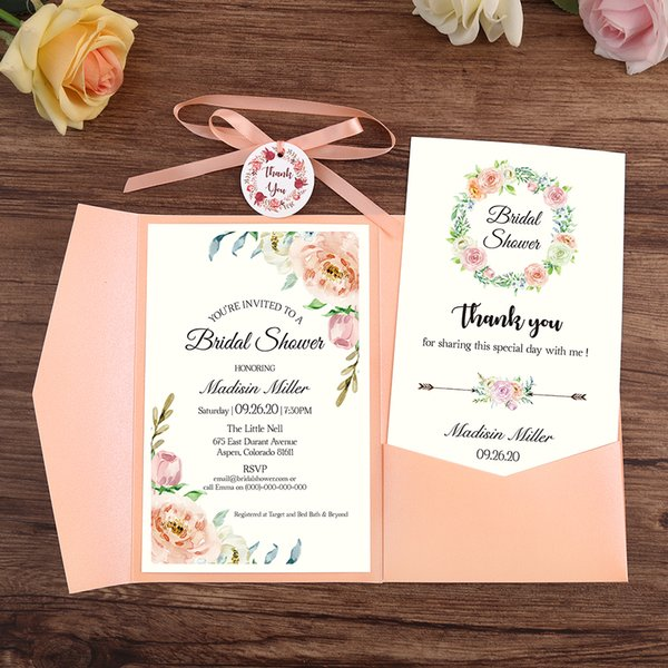 100pc Wedding Invitation Pink Burgundy Navy Blue Greeting Card with Envelope Party With Ribbon and Tag