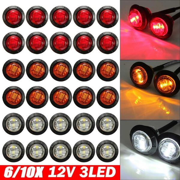 6pcs 12V / 24V Ambre / Blanc / LED rouge côté marqueur voyant lumineux de la lampe de remorques de camions Caravan Poids lourd