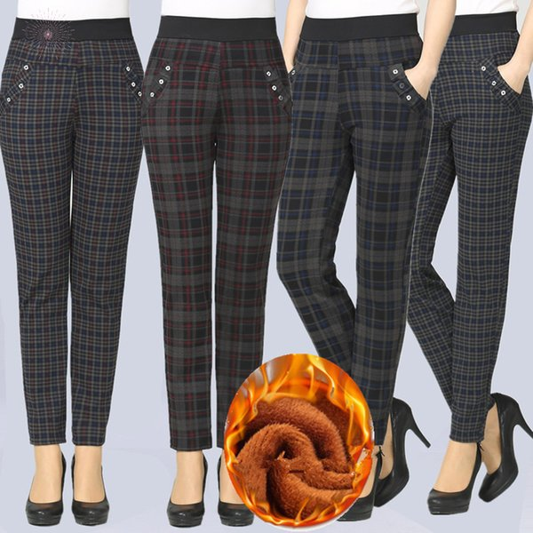 Size Large 2019 Trousers Winter Women Grid Pants Warm Sweat Plus Velvet Slim Pants High Waist Stretch Pencil Pants Female