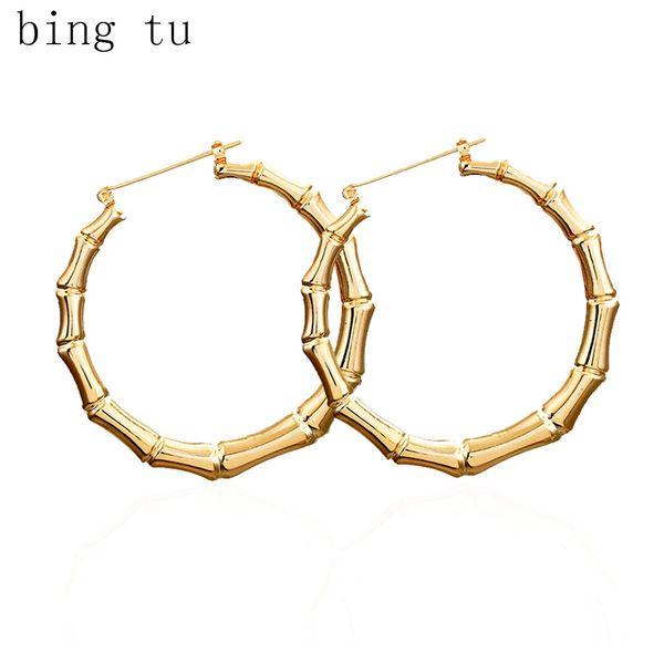 Bing Tu Oro / Argento Big rotonda degli orecchini del cerchio Earings grande cerchio per i monili del partito delle donne intagliato Loop Orecchini brincos de gota