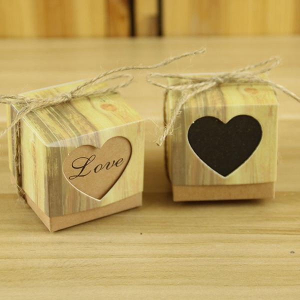 Caixa de Papel Kraft Caixa de Presente Embalagem com Drageias Janela Favor Do Casamento Fontes Do Partido Festivo 50 pçs / lote