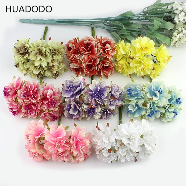 6pcs 4cm Artificial Carnation Flowers Stamen Silk Flower Bouquet For Wedding Decoration Diy Scrapbooking Fake Flower