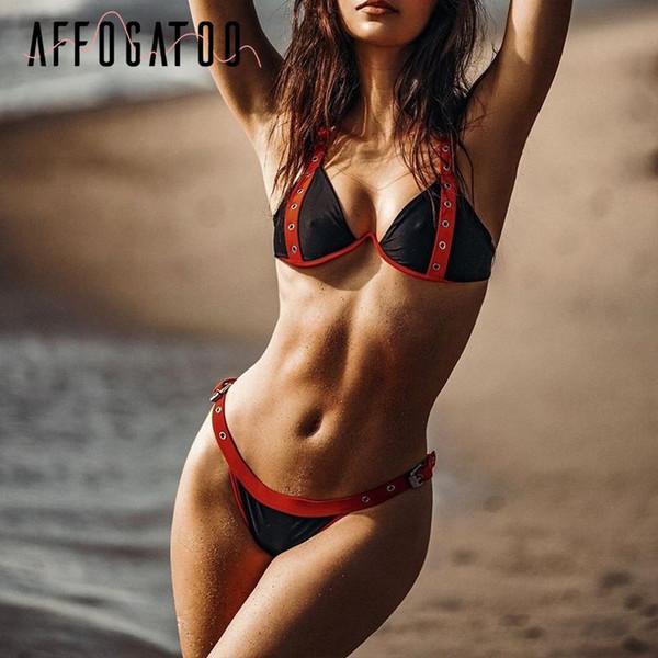 Sexy black rivet bikini 2019 micro Push up buckle swimsuit female Summer swimwear women bathing suit biquini beach wear new