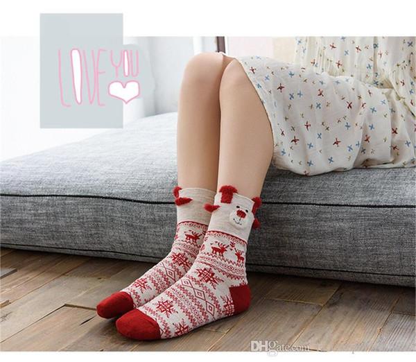 Женские носки с мультяшным рождественским оленем с рисунком снежинки с принтом чулок Donna